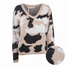 Pull manches longues raglan laine camouflage Femme CARE OF YOU marque pas cher prix dégriffés destockage