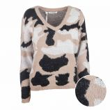 Pull manches longues raglan laine camouflage Femme CARE OF YOU