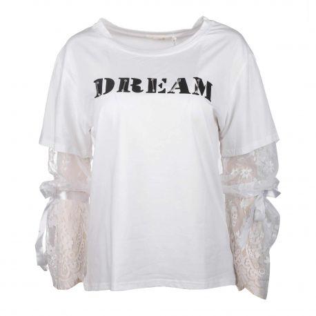 Tee shirt manches longues coton dentelle Femme CARE OF YOU marque pas cher prix dégriffés destockage