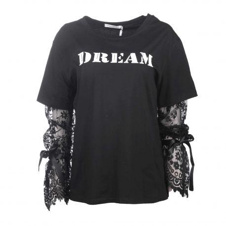 Tee shirt manches longues coton stretch dentelle Femme CARE OF YOU marque pas cher prix dégriffés destockage