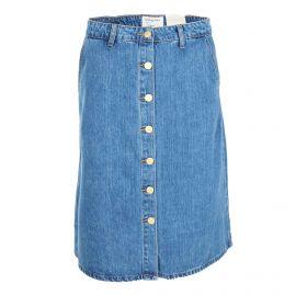 Jupe en jean délavé coton doux longueur genou Femme LA PETITE ETOILE marque pas cher prix dégriffés destockage