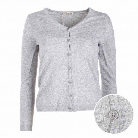 Gilet manches longues bouton cachemire laine Femme CASHMERE COMPANY marque pas cher prix dégriffés destockage