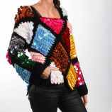 Pull manches longues mohair paillette patchwork Femme CARE OF YOU