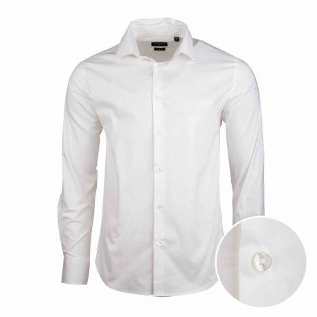 Chemise blanche slim manches longues Homme TORRENTE marque pas cher prix dégriffés destockage