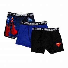 Lot de 3 boxers microfibres bleu Enfant JUSTICE LEAGUE marque pas cher prix dégriffés destockage