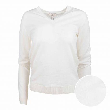 Pull col v blanc casse h8474 Femme AIGLE marque pas cher prix dégriffés destockage