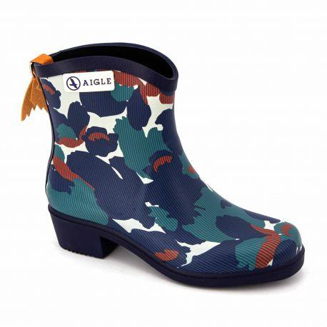 Bottines caoutchouc camouflage 8471 Femme AIGLE marque pas cher prix dégriffés destockage