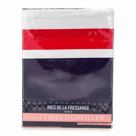Set de 2 taies d'oreiller 50x70cm horizon INES DE LA FRESSANGE marque pas cher prix dégriffés destockage