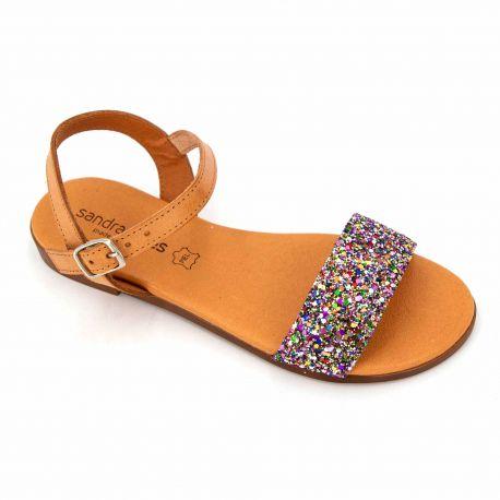 Sandale natural glitter multi 9190 t36/41 Femme SANDRACOVES marque pas cher prix dégriffés destockage