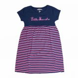 Robe rayée manches courtes bleu/rose coton stretch Enfant LITTLE MARCEL