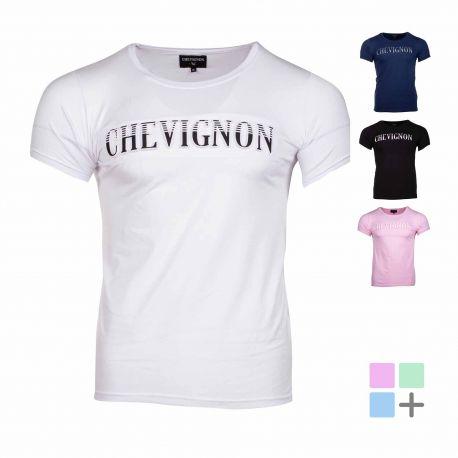 Tee shirt gauffre et imprime tibert Homme CHEVIGNON marque pas cher prix dégriffés destockage