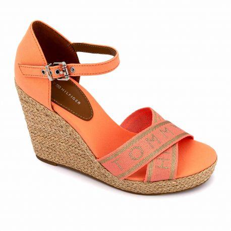 Sandales orange fw0fw04753 t36/41 Femme TOMMY HILFIGER marque pas cher prix dégriffés destockage