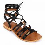 Sandales plates cuir noir Hercule Femme LES TROPEZIENNES PAR M.BELARBI