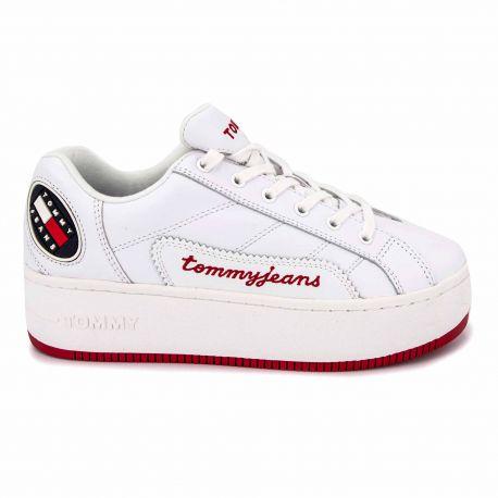Sneakers white en0en00788 t36/41 Femme TOMMY HILFIGER marque pas cher prix dégriffés destockage
