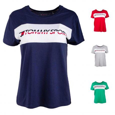 Tee shirt mc logo s10s100123 Femme TOMMY HILFIGER marque pas cher prix dégriffés destockage