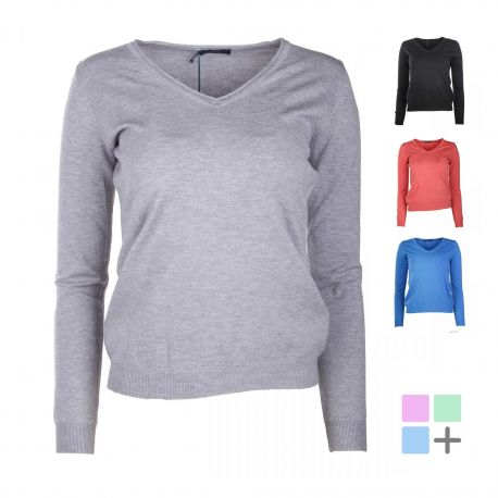 Pull manches longues v laine cachemire Femme REAL CASHMERE