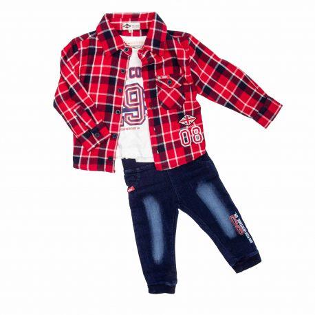 Ensemble 3pcs : jean + t-shirt ml + chemise bebe 6 a 36 mois lc13167-s Enfant, Bébé LEE COOPER marque pas cher prix dégriffés...