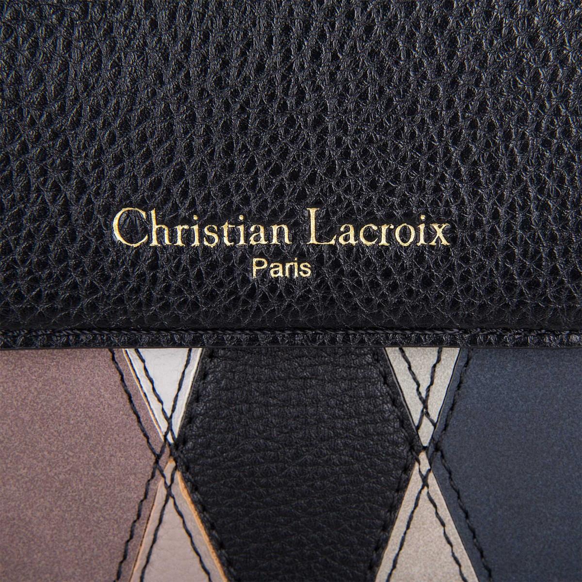 petit sac simili cuir noir motifs losanges femme christian lacroix à