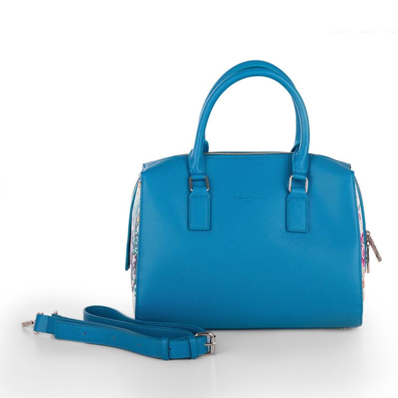 Sac bowling camel / bleu imprimé tropicaux femme CHRISTIAN LACROIX marque pas cher prix dégriffés destockage