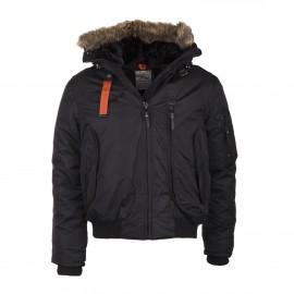 Blouson de ski capuche fourrure noire NORTH VALLEY