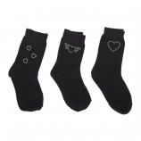Lot de 3 paires de chaussettes fantaisie noires fille AZERTEX marque pas cher prix dégriffés destockage