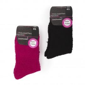 Lot de 2 paires de chaussettes fluffy femme AZERTEX