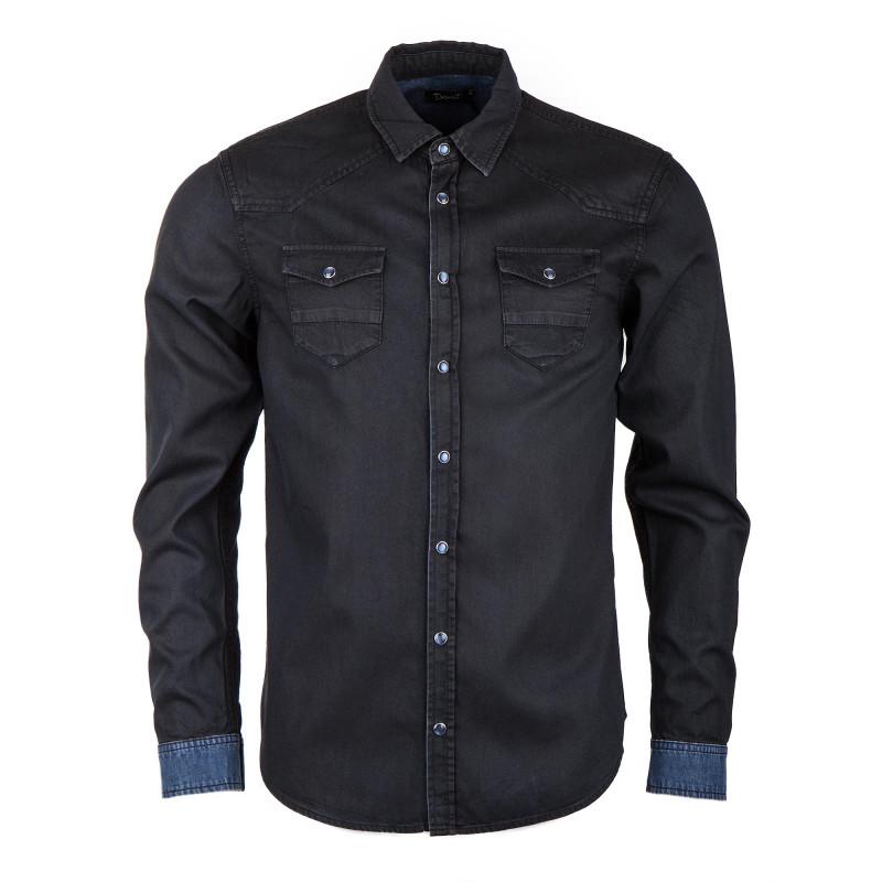 Chemise en jean noire homme DEEPEND marque pas cher prix dégriffés destockage