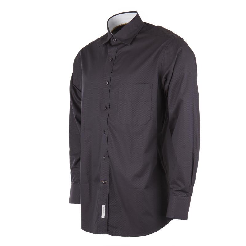 Chemise à carreaux noirs et marrons homme ZIGNONE marque pas cher prix dégriffés destockage