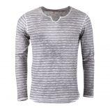 Tee-shirt manches longues rayé gris homme DEEPEND marque pas cher prix dégriffés destockage