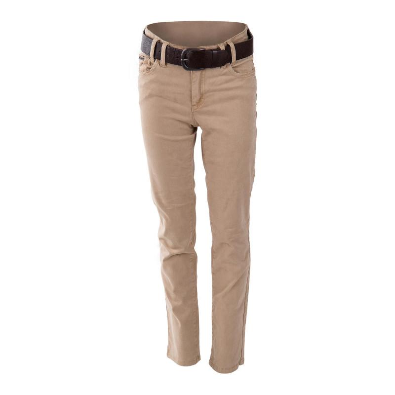 Pantalon en toile beige ceinture marron fille BEST MOUNTAIN marque pas cher prix dégriffés destockage