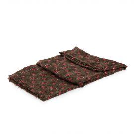 Foulard kaki à fleurs rouges femme DDP marque pas cher prix dégriffés destockage