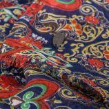 Foulard bleu marine imprimés fleurs femme DDP marque pas cher prix dégriffés destockage