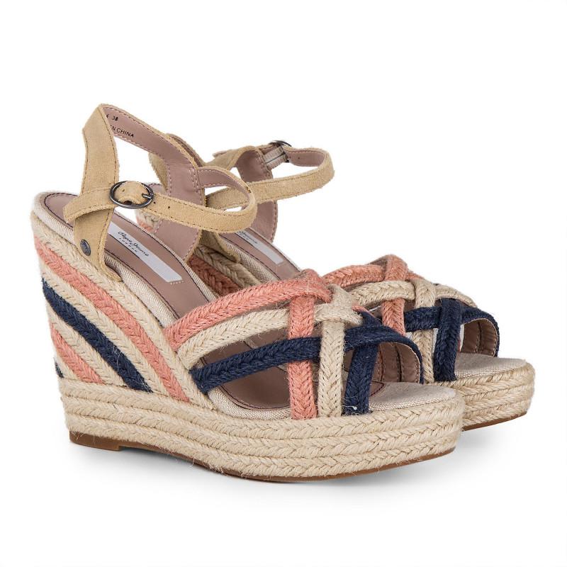 Sandales compensées en corde bleu et roses femme PEPE JEANS marque pas cher prix dégriffés destockage