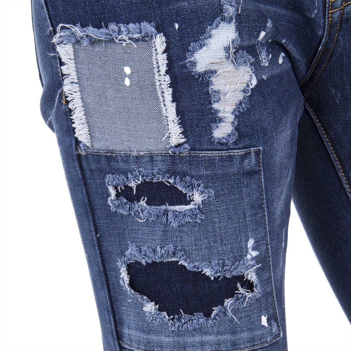 jean skinny stretch d tails d chir s et t ches peintures homme blue. Black Bedroom Furniture Sets. Home Design Ideas