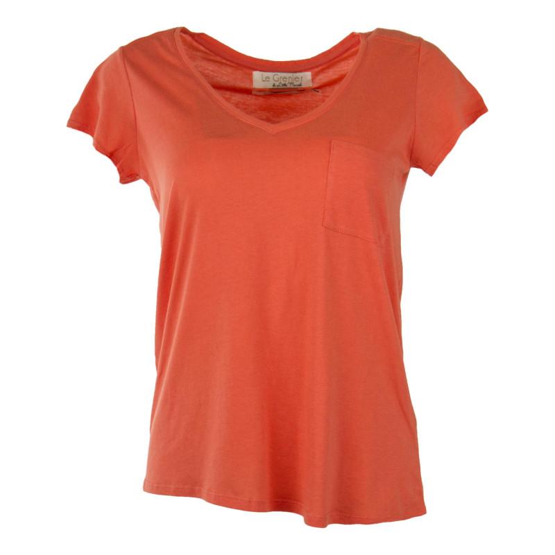 Tee shirt col V femme LITTLE MARCEL marque pas cher prix dégriffés destockage