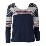 Tee shirt manches longues détails imprimés graphiques femme LITTLE MARCEL marque pas cher prix dégriffés destockage