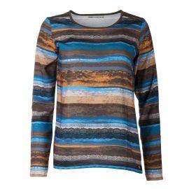 Tee shirt à manches longues rayé effet dentelle femme LITTLE MARCEL marque pas cher prix dégriffés destockage
