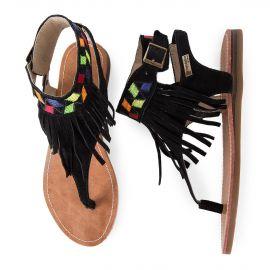 Sandales ethniques à franges en daim femme GWENEL LES TROPEZIENNES marque pas cher prix dégriffés destockage