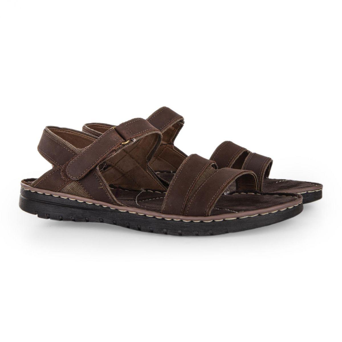 9d0e832bc6a ... Sandales en cuir marron LESLEY homme ROADSIGN marque pas cher prix  dégriffés destockage ...