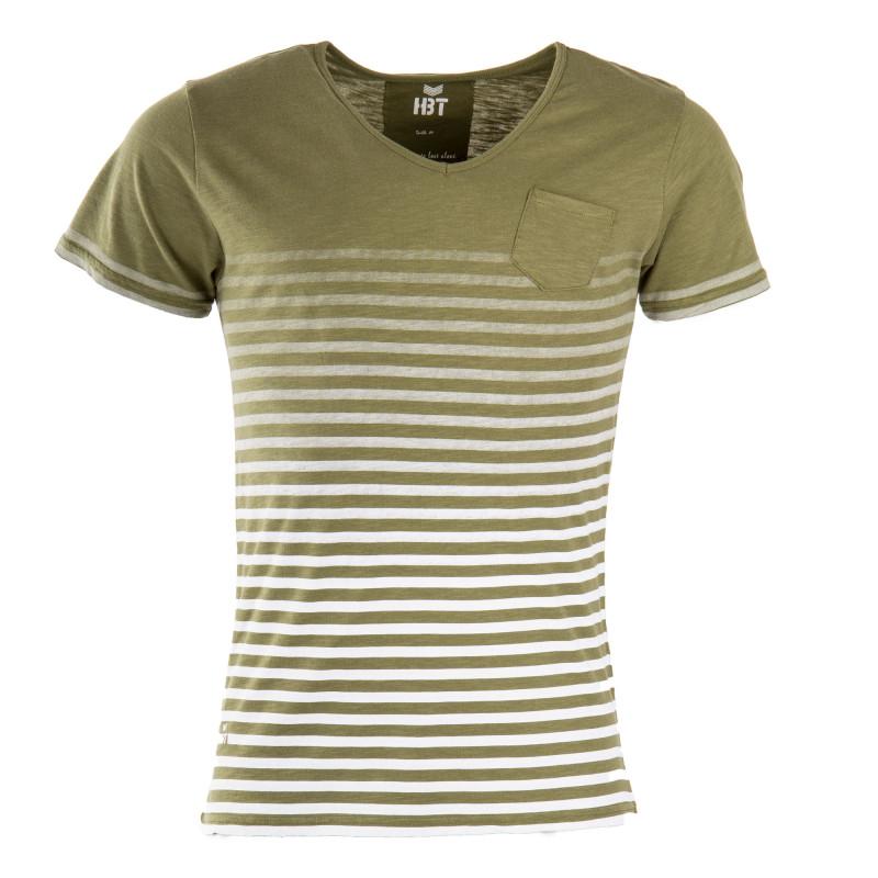 Tee shirt manches courtes rayé homme HBT marque pas cher prix dégriffés destockage