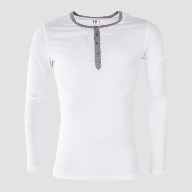 Tee shirt à manches longues en coton homme HBT marque pas cher prix dégriffés destockage