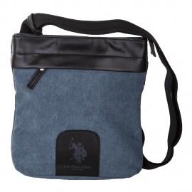 Sacoche bleue bi-matière moyen modèle homme US POLO marque pas cher prix dégriffés destockage