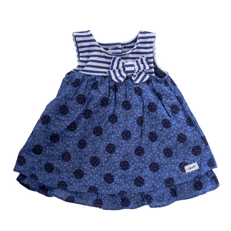 Robe bleue à pois et rayures bébé ABSORBA marque pas cher prix dégriffés destockage