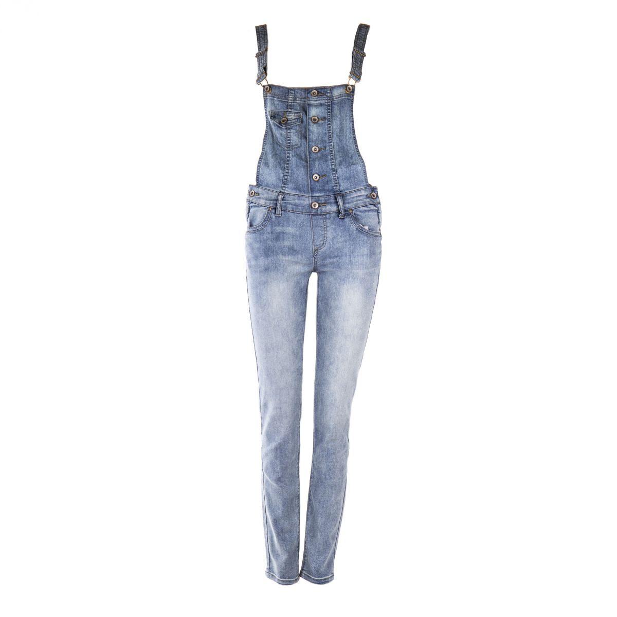 1b26076e11e Salopette en jean bleu clair femme BEST MOUNTAIN marque pas cher prix  dégriffés destockage ...
