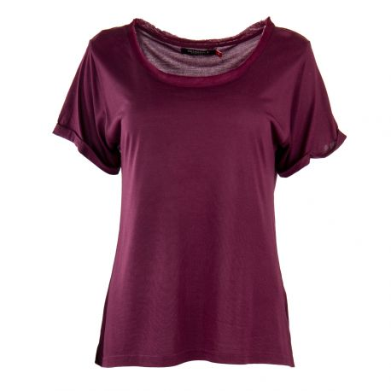 Tee shirt à manches courtes bordeaux femme RED SOUL marque pas cher prix dégriffés destockage