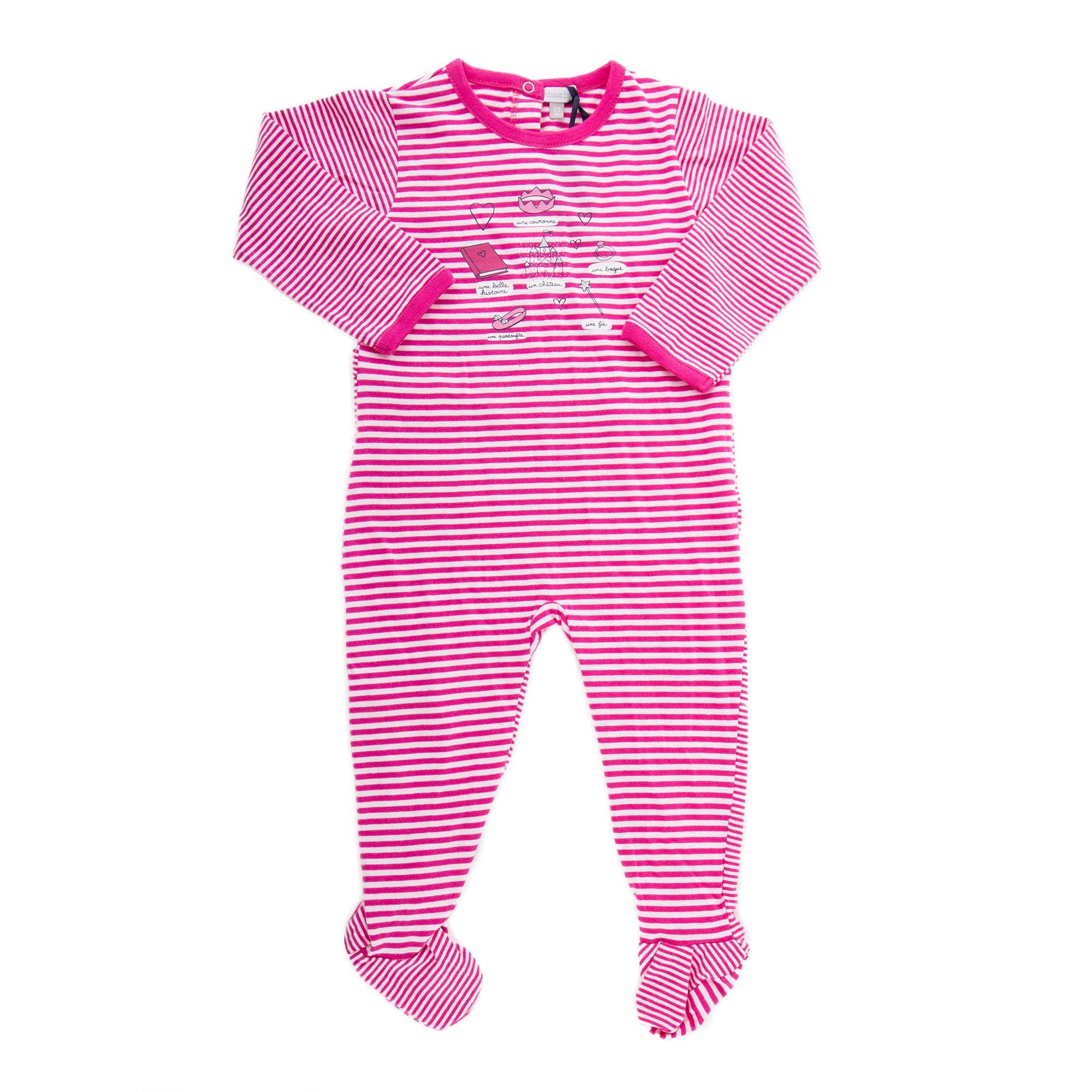 92f12308cbbe4 Pyjama à rayures blanches et roses bébé ABSORBA