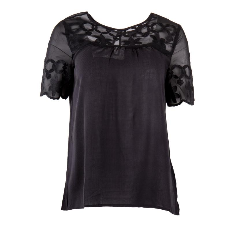 Haut noir empiècement transparent floral femme BEST MOUNTAIN marque pas cher prix dégriffés destockage