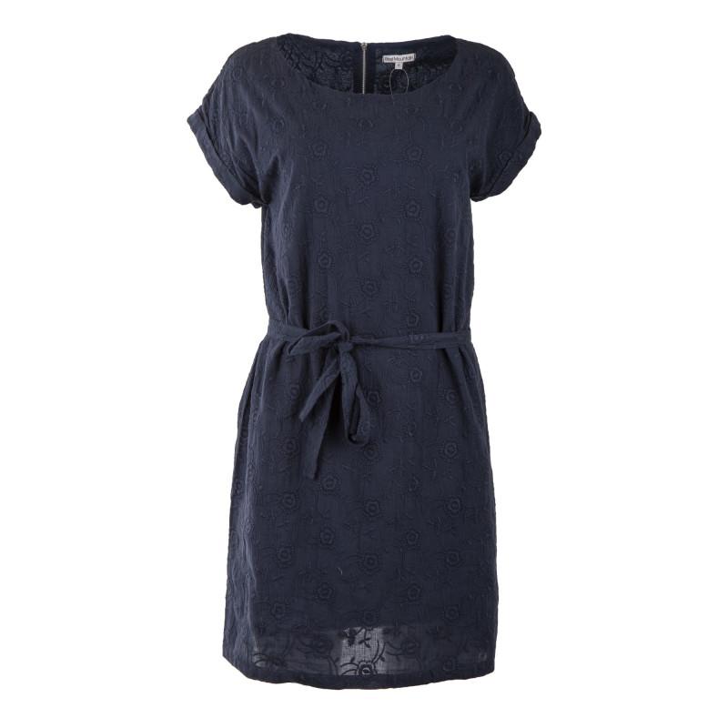 Robe bleue marine en coton brodé femme BEST MOUNTAIN marque pas cher prix dégriffés destockage