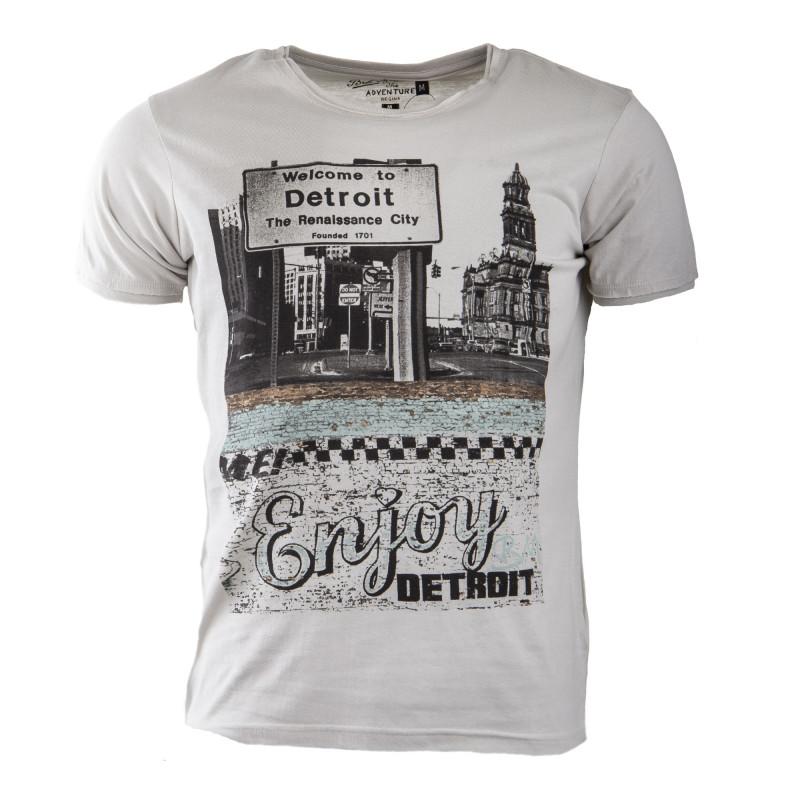 Tee shirt gris clair imprimé homme BEST MOUNTAIN marque pas cher prix  dégriffés destockage b2f90617529d