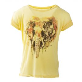 Tee shirt jaune imprimé éléphant fille BEST MOUNTAIN